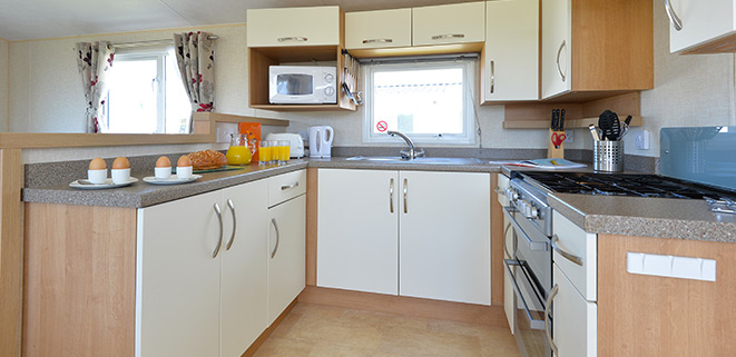 Gold Caravan Kitchen Area