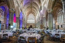Image of the interior of Exeter Cathedral setup for the South West Tourism Excellence Awards 2016